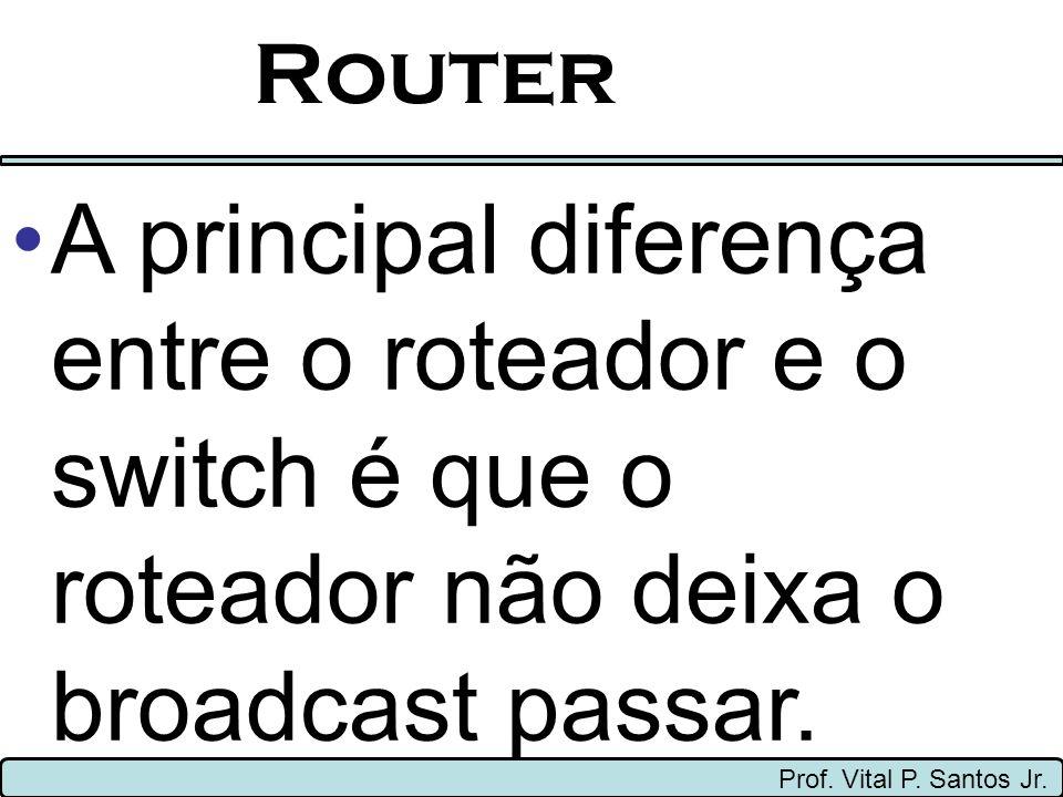 Router A principal diferença entre o roteador e o switch é que o roteador não deixa o broadcast passar.