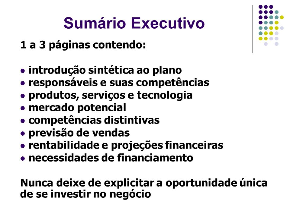 Sumário Executivo 1 a 3 páginas contendo: