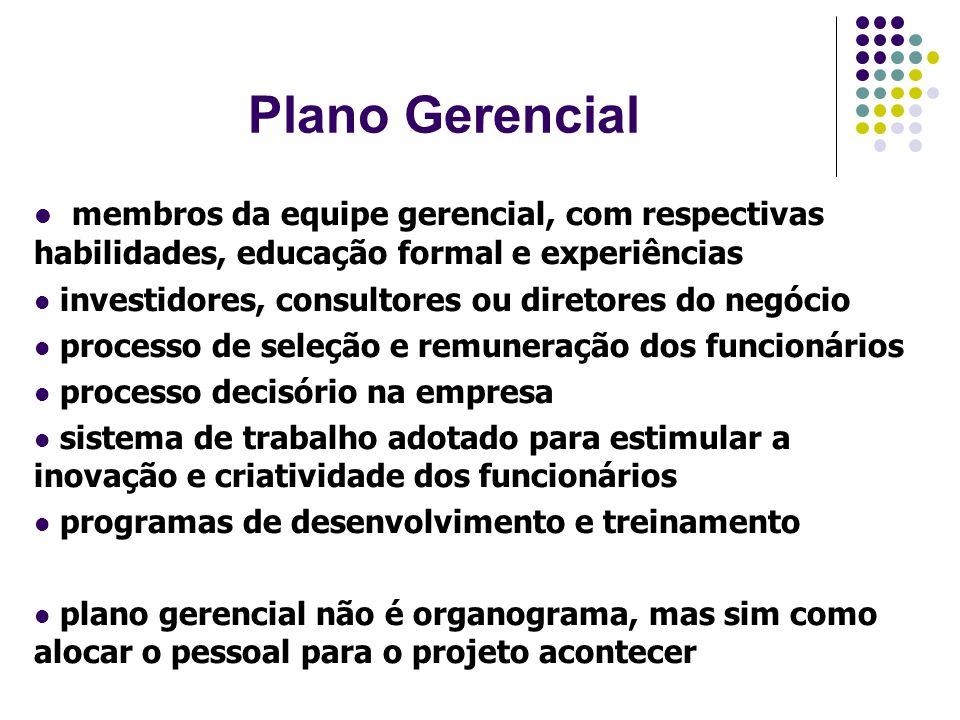 Plano Gerencial membros da equipe gerencial, com respectivas habilidades, educação formal e experiências.