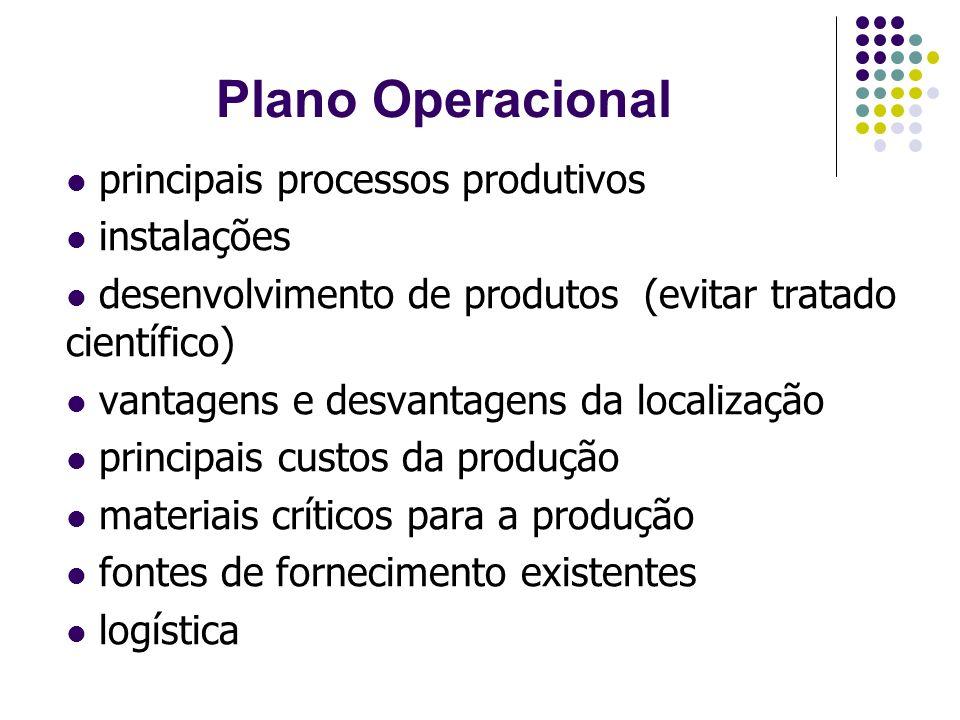Plano Operacional principais processos produtivos instalações