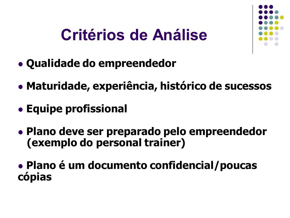 Critérios de Análise Qualidade do empreendedor