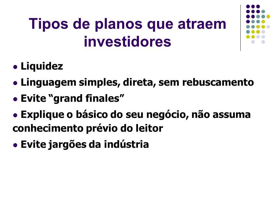 Tipos de planos que atraem investidores