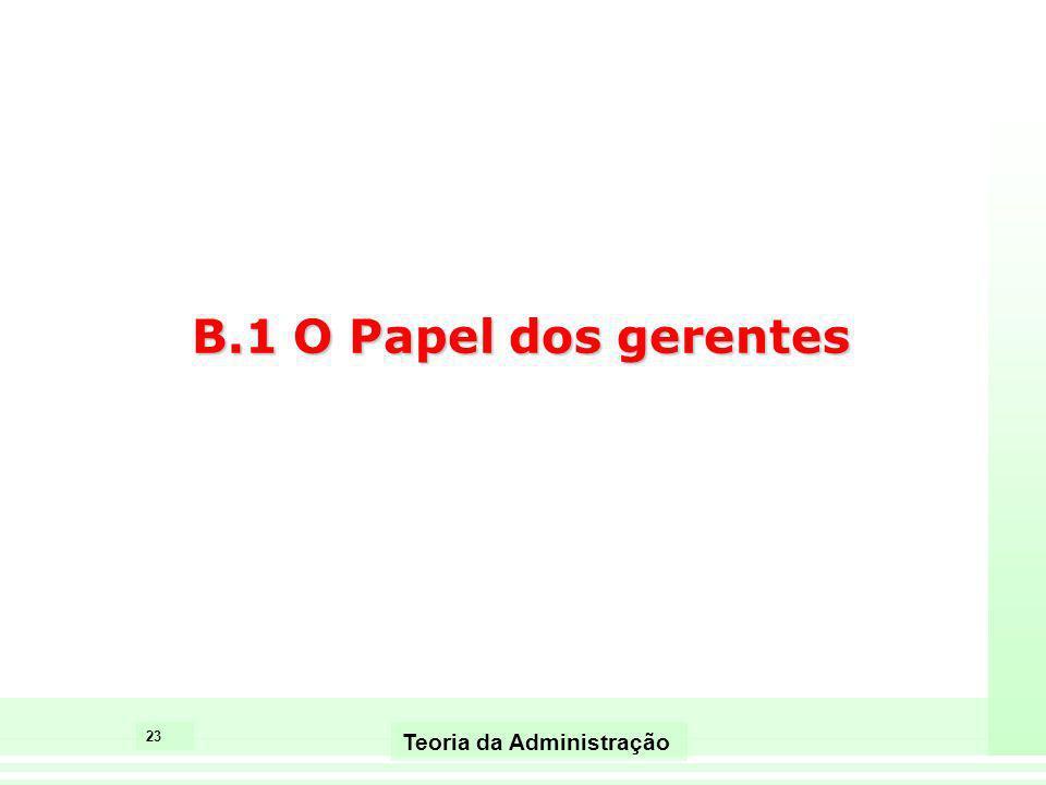 B.1 O Papel dos gerentes