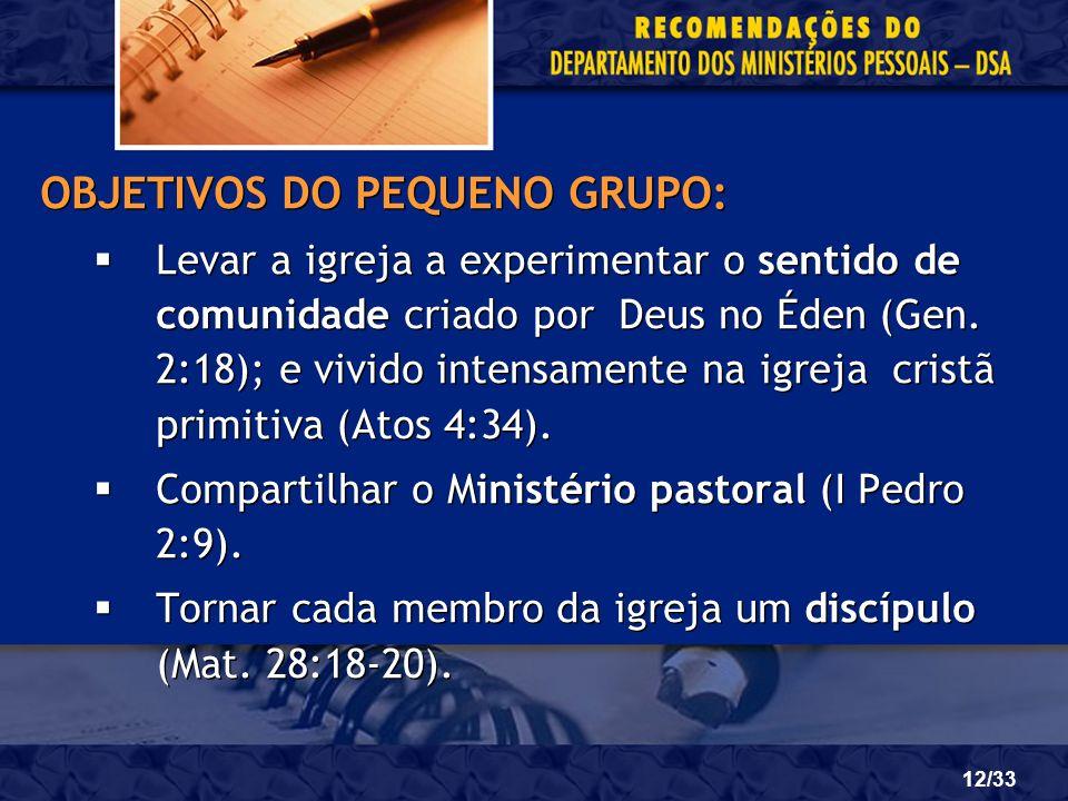 OBJETIVOS DO PEQUENO GRUPO: