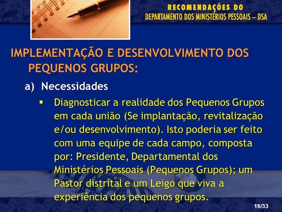 IMPLEMENTAÇÃO E DESENVOLVIMENTO DOS PEQUENOS GRUPOS: