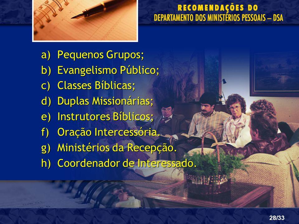 Pequenos Grupos;Evangelismo Público; Classes Bíblicas; Duplas Missionárias; Instrutores Bíblicos; Oração Intercessória.