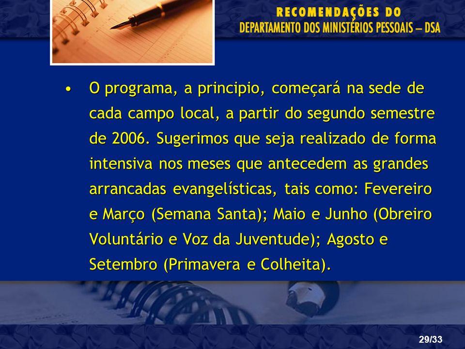 O programa, a principio, começará na sede de cada campo local, a partir do segundo semestre de 2006.