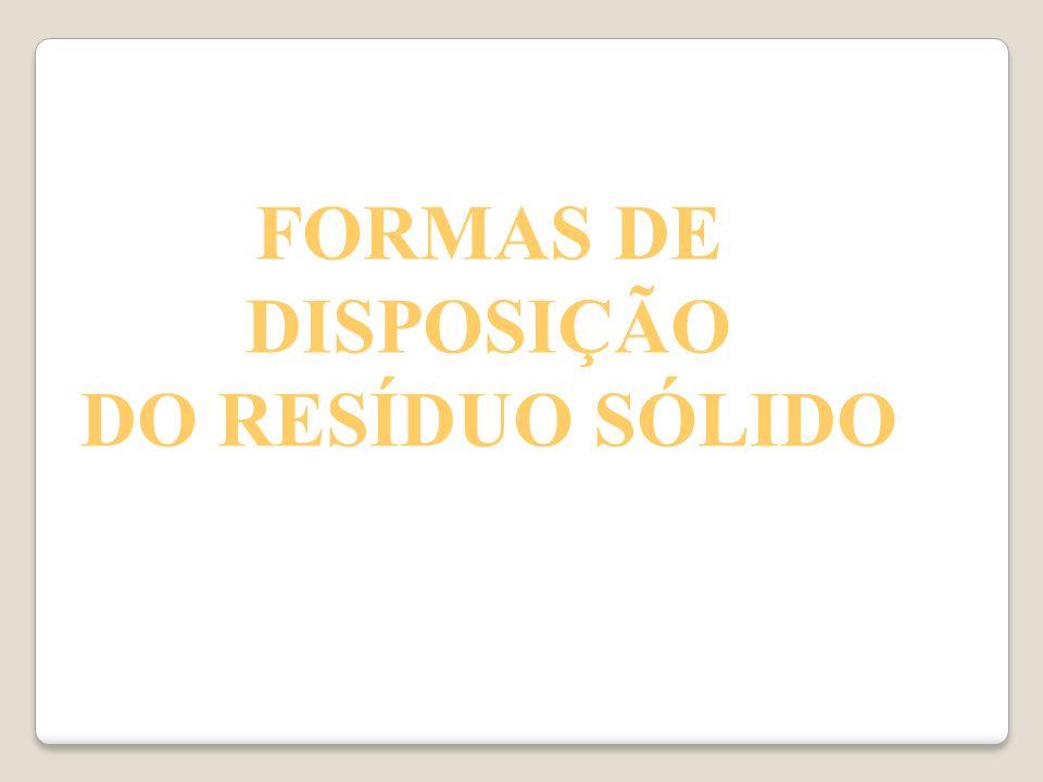 FORMAS DE DISPOSIÇÃO DO RESÍDUO SÓLIDO