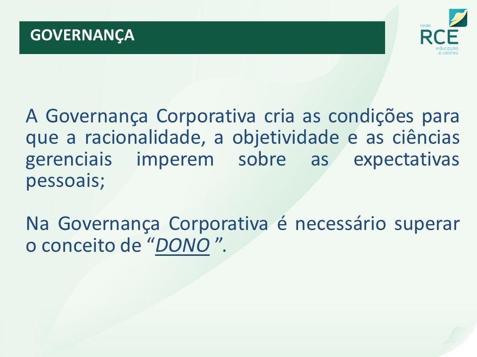 Na Governança Corporativa é necessário superar o conceito de DONO .
