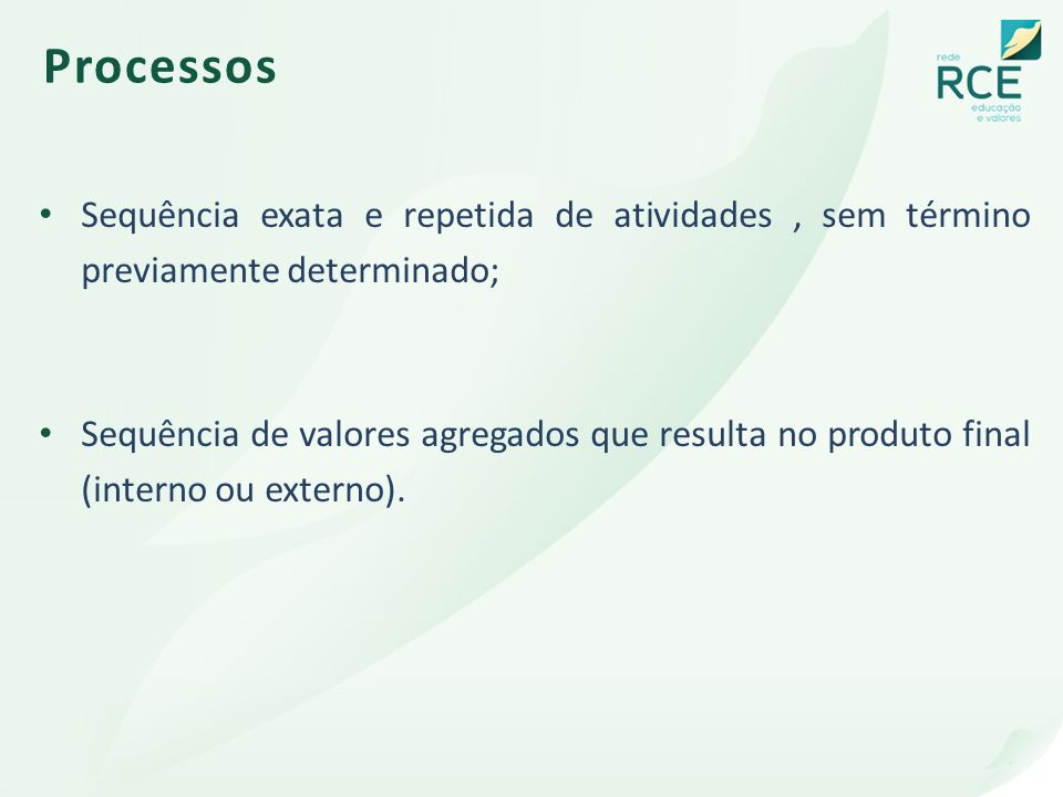 Processos Sequência exata e repetida de atividades , sem término previamente determinado;