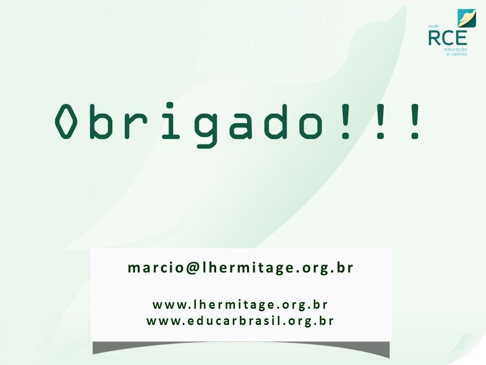 Obrigado!!! marcio@lhermitage.org.br www.lhermitage.org.br