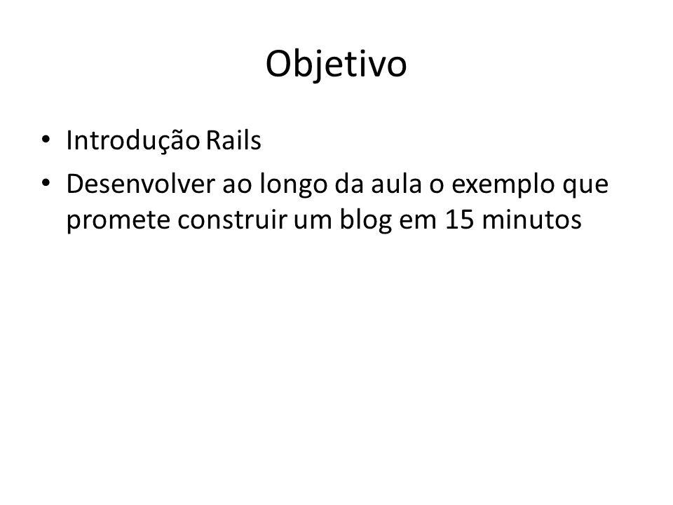 Objetivo Introdução Rails