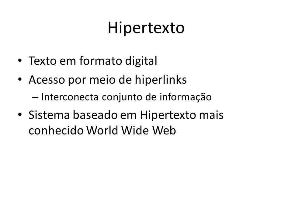 Hipertexto Texto em formato digital Acesso por meio de hiperlinks