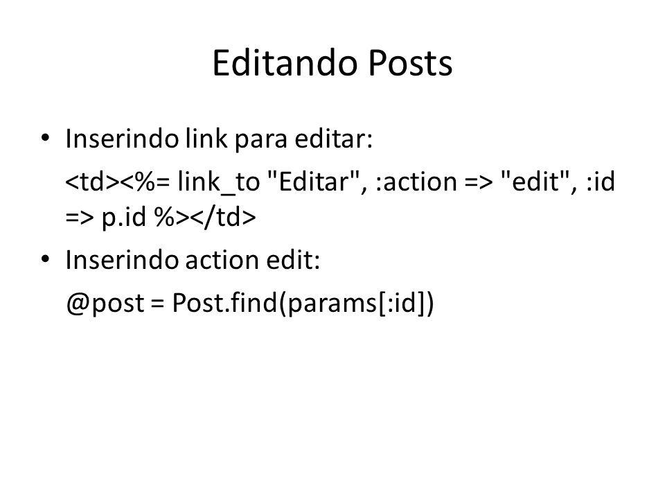Editando Posts Inserindo link para editar: