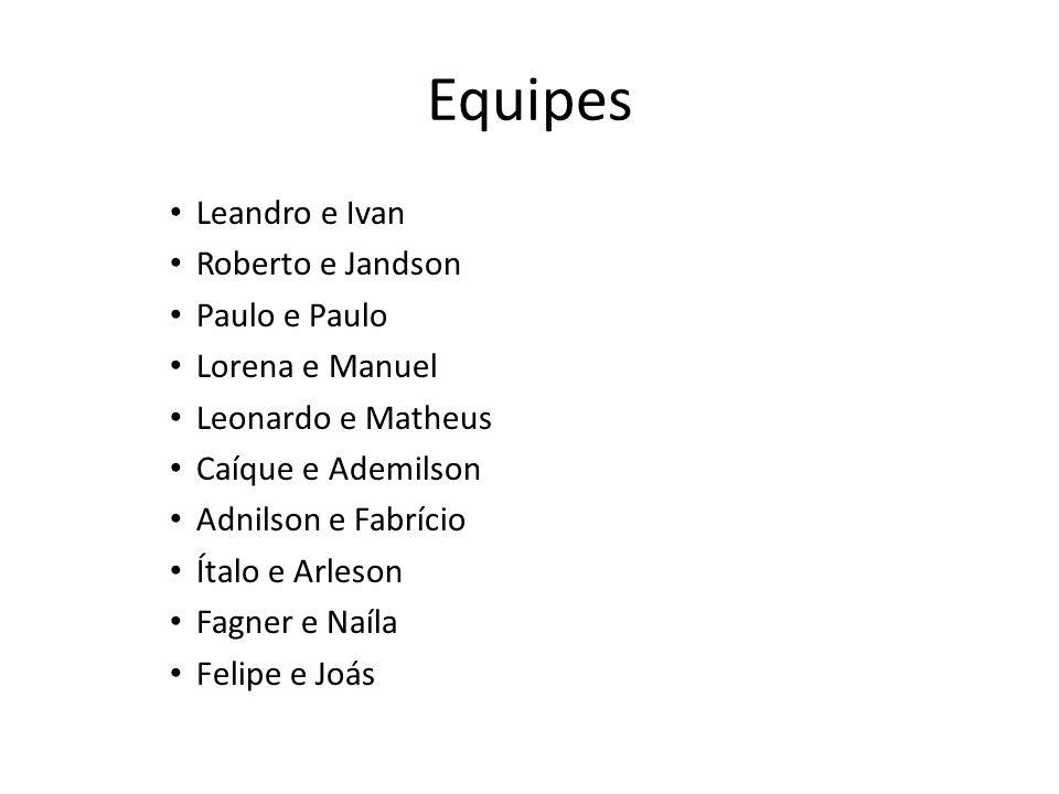Equipes Leandro e Ivan Roberto e Jandson Paulo e Paulo Lorena e Manuel