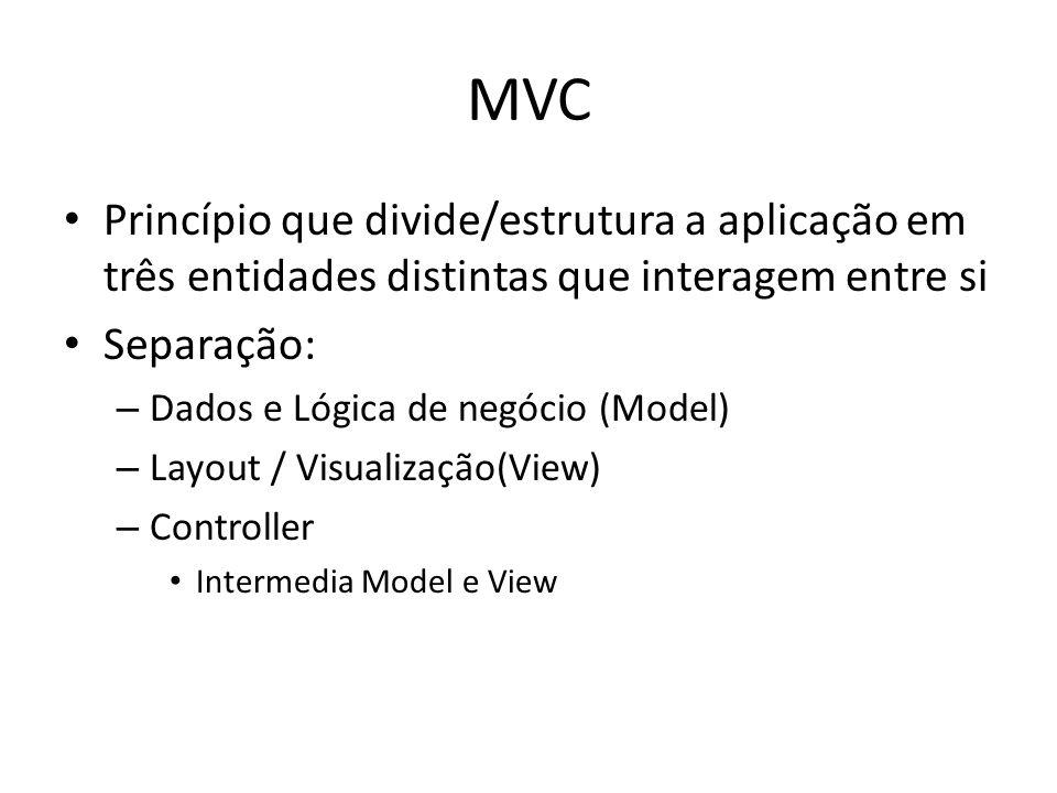 MVCPrincípio que divide/estrutura a aplicação em três entidades distintas que interagem entre si. Separação: