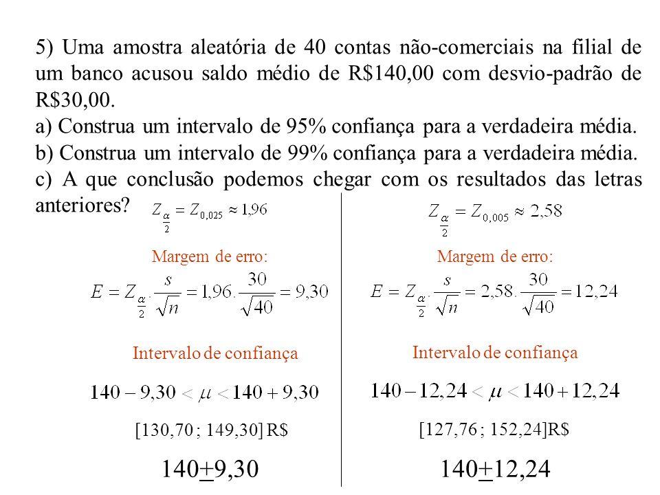 5) Uma amostra aleatória de 40 contas não-comerciais na filial de um banco acusou saldo médio de R$140,00 com desvio-padrão de R$30,00.