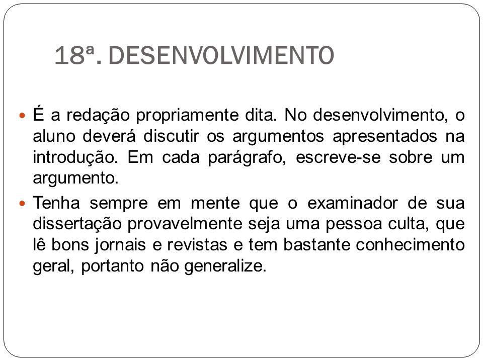 18ª. DESENVOLVIMENTO