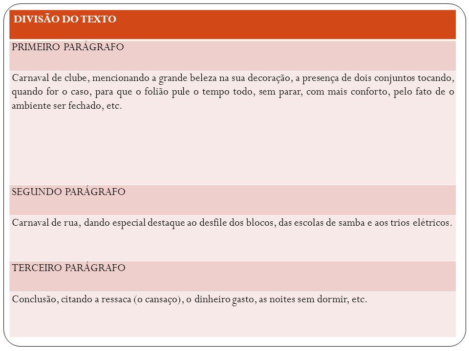 DIVISÃO DO TEXTO PRIMEIRO PARÁGRAFO.