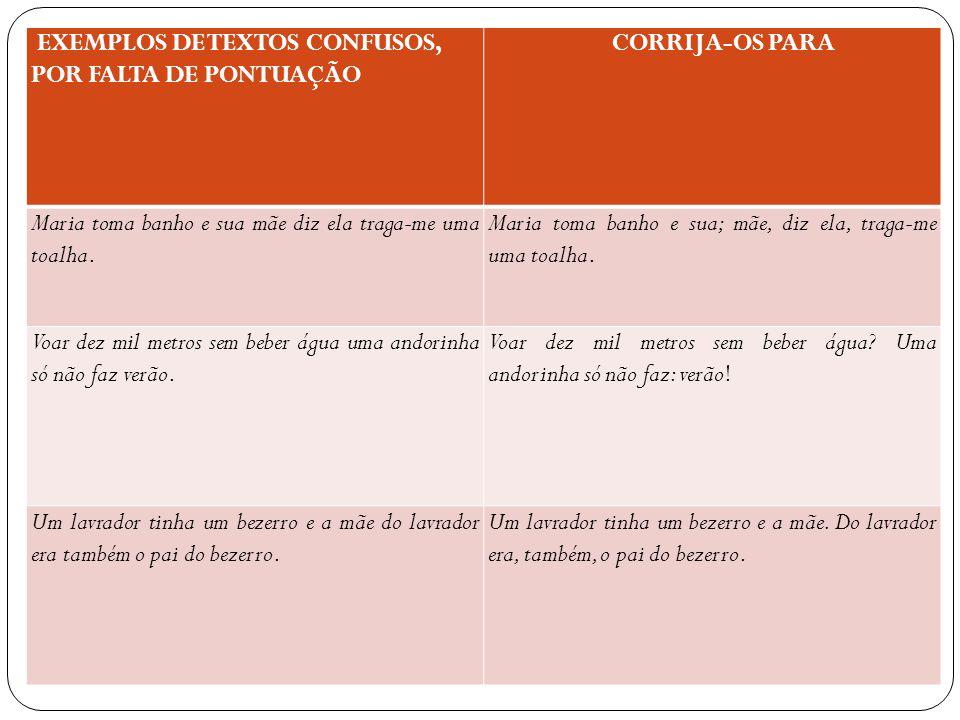 EXEMPLOS DE TEXTOS CONFUSOS, POR FALTA DE PONTUAÇÃO