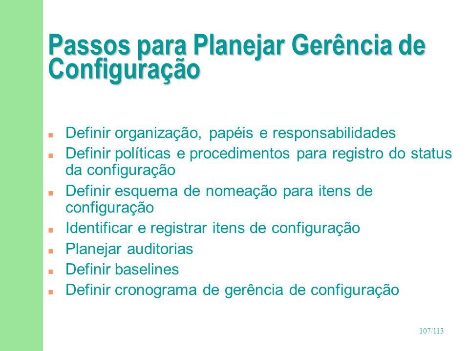 Passos para Planejar Gerência de Configuração