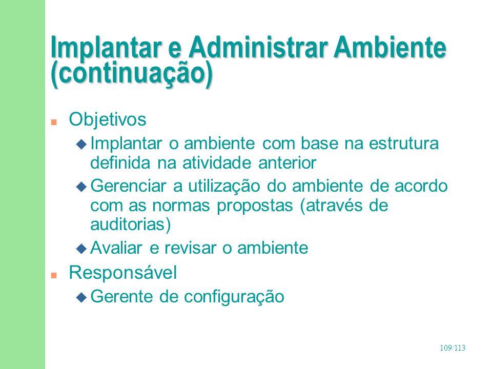 Implantar e Administrar Ambiente (continuação)