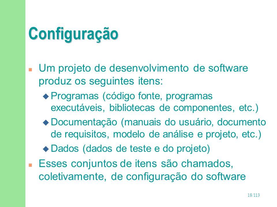 ConfiguraçãoUm projeto de desenvolvimento de software produz os seguintes itens: