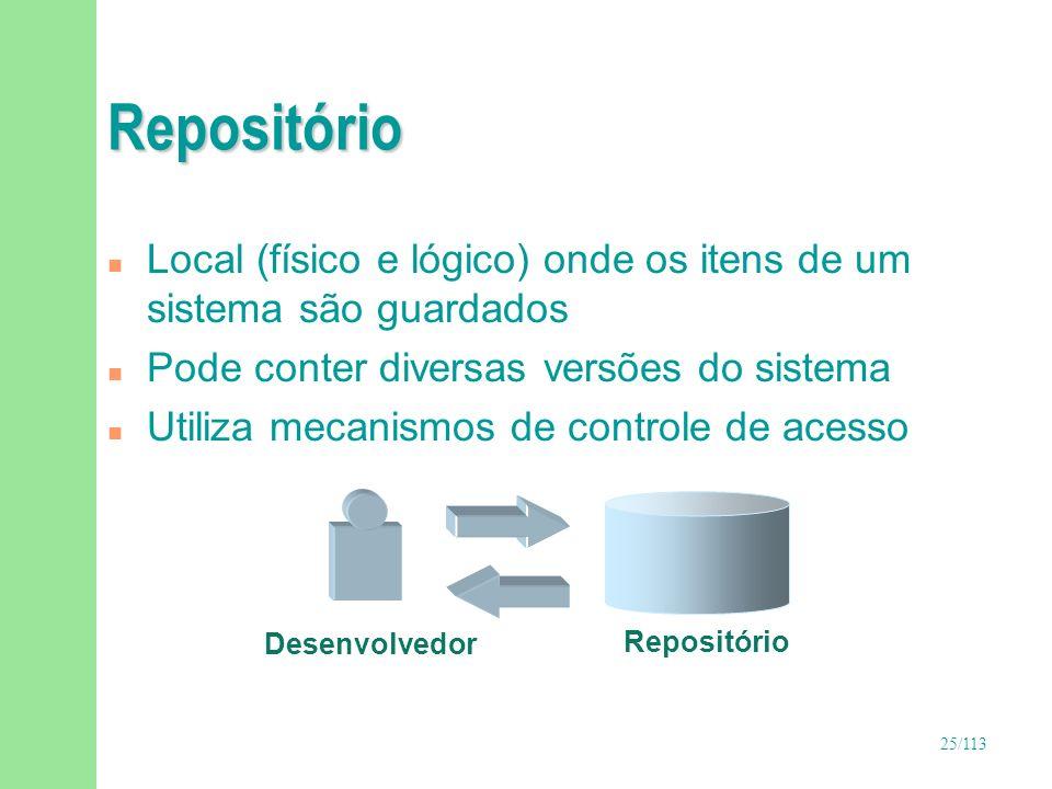 RepositórioLocal (físico e lógico) onde os itens de um sistema são guardados. Pode conter diversas versões do sistema.