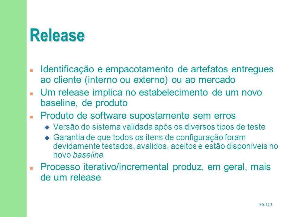 Release Identificação e empacotamento de artefatos entregues ao cliente (interno ou externo) ou ao mercado.