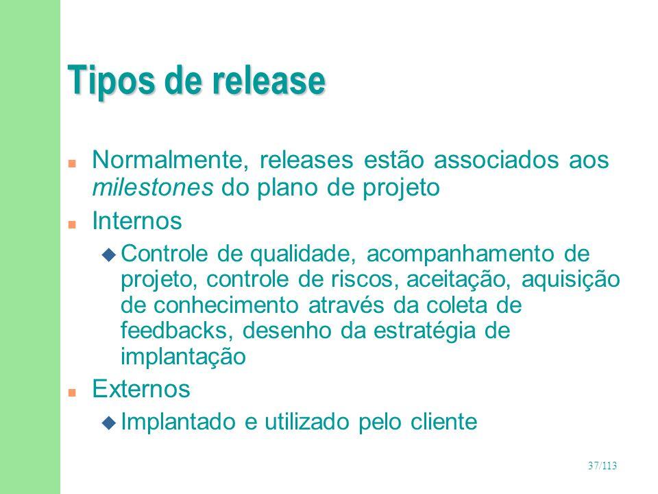 Tipos de releaseNormalmente, releases estão associados aos milestones do plano de projeto. Internos.