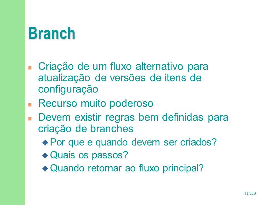 BranchCriação de um fluxo alternativo para atualização de versões de itens de configuração. Recurso muito poderoso.