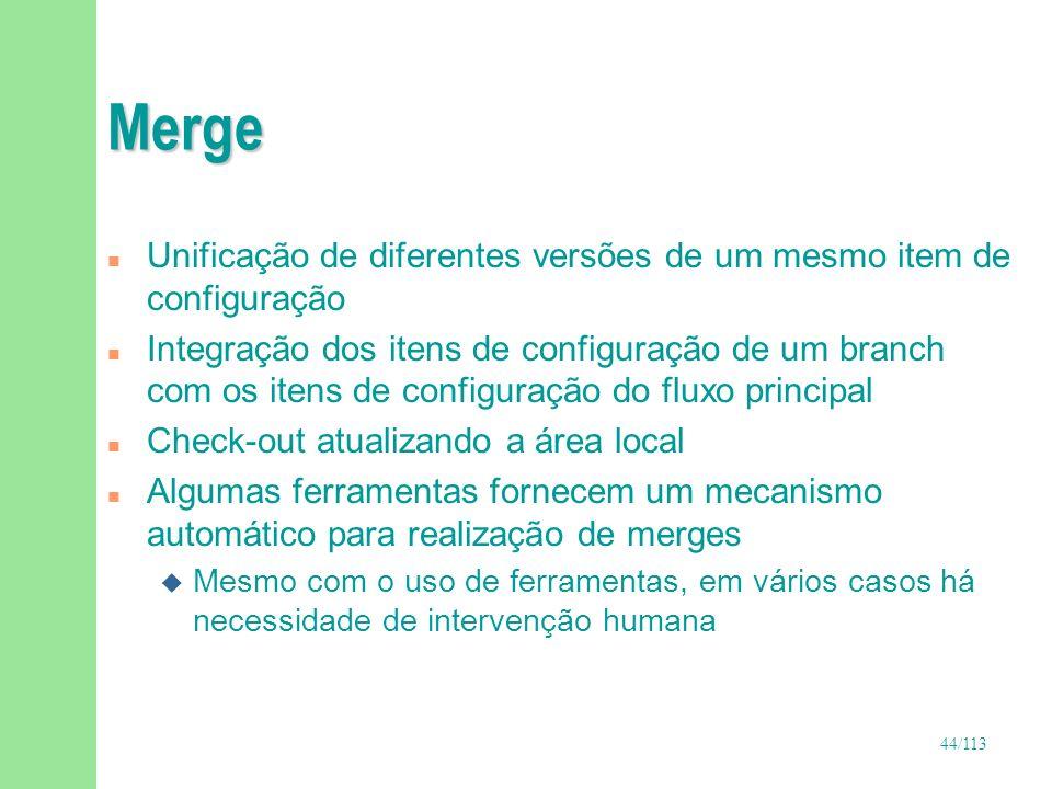 Merge Unificação de diferentes versões de um mesmo item de configuração.