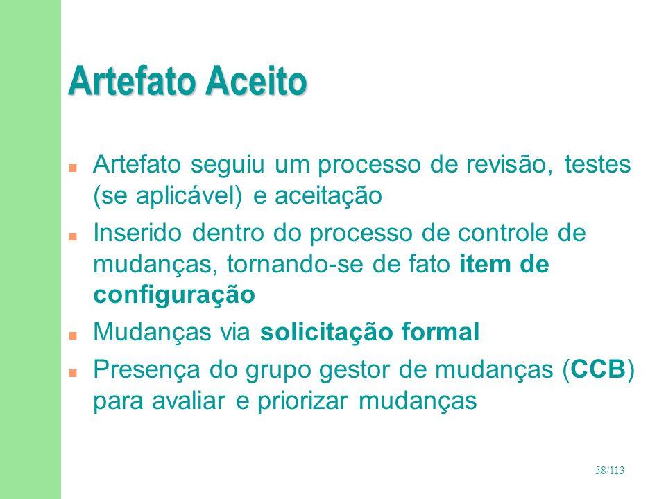Artefato AceitoArtefato seguiu um processo de revisão, testes (se aplicável) e aceitação.