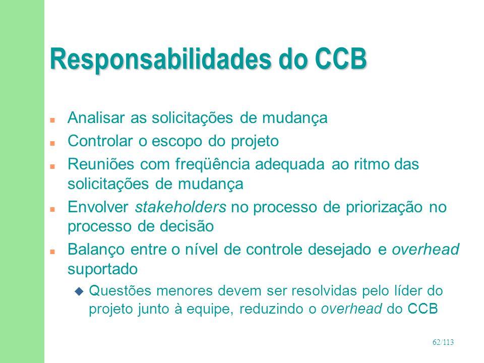 Responsabilidades do CCB