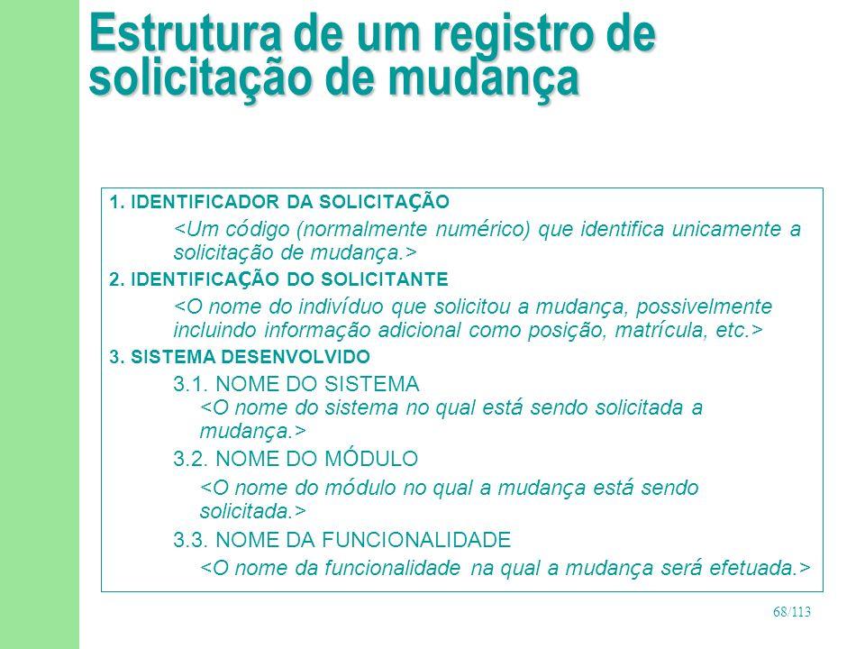 Estrutura de um registro de solicitação de mudança