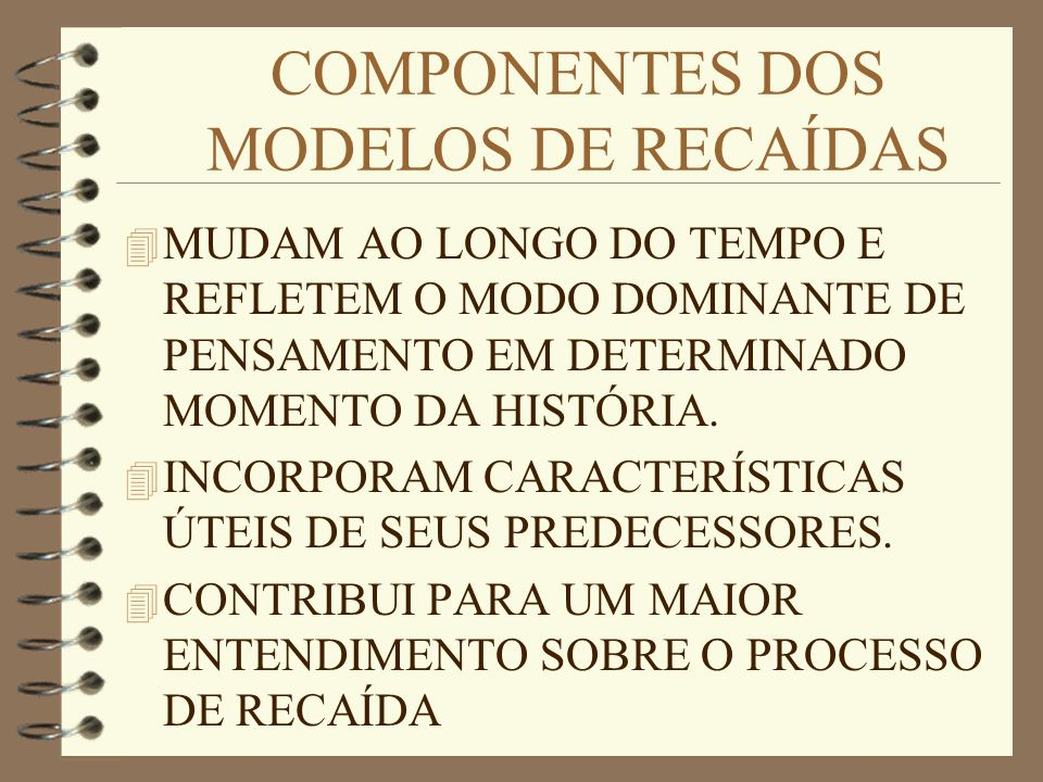 COMPONENTES DOS MODELOS DE RECAÍDAS