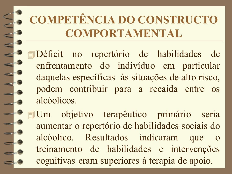 COMPETÊNCIA DO CONSTRUCTO COMPORTAMENTAL