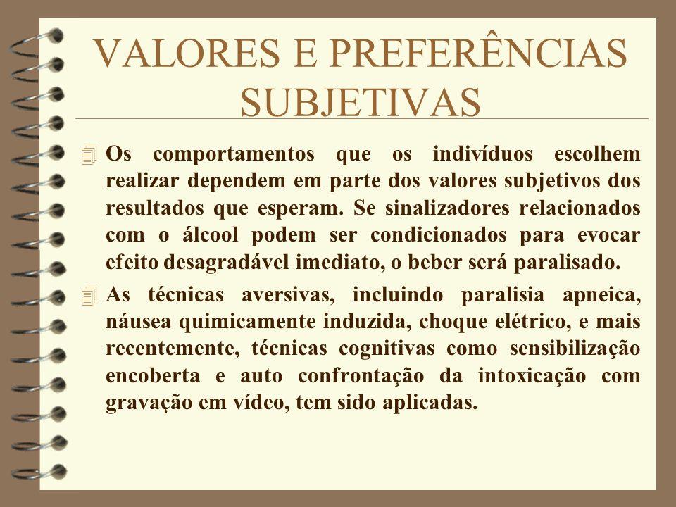 VALORES E PREFERÊNCIAS SUBJETIVAS