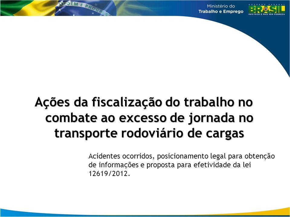 Ações da fiscalização do trabalho no combate ao excesso de jornada no transporte rodoviário de cargas
