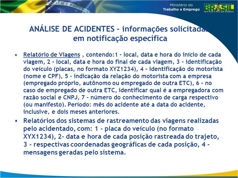 ANÁLISE DE ACIDENTES – informações solicitadas em notificação específica