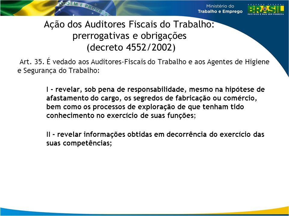 Ação dos Auditores Fiscais do Trabalho: prerrogativas e obrigações (decreto 4552/2002)