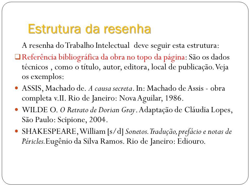 Estrutura da resenha A resenha do Trabalho Intelectual deve seguir esta estrutura: