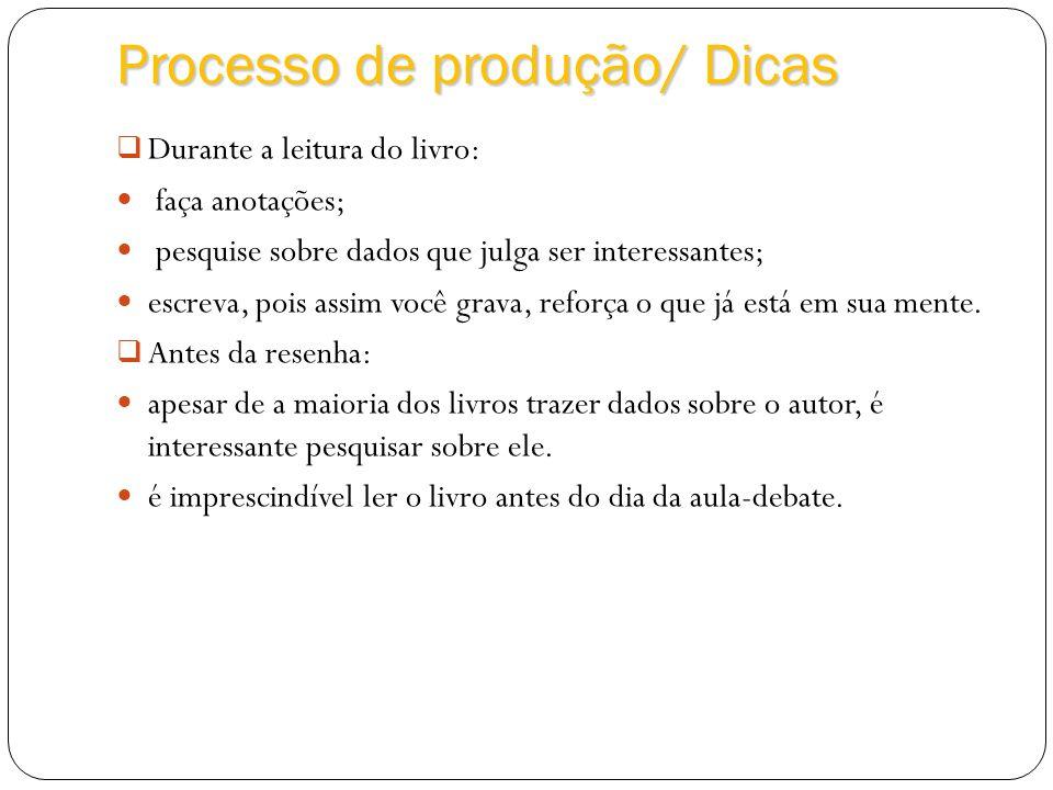 Processo de produção/ Dicas