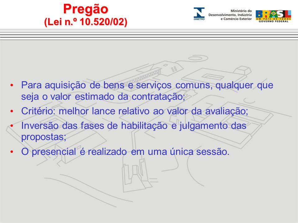 Pregão (Lei n.º 10.520/02) Para aquisição de bens e serviços comuns, qualquer que seja o valor estimado da contratação;