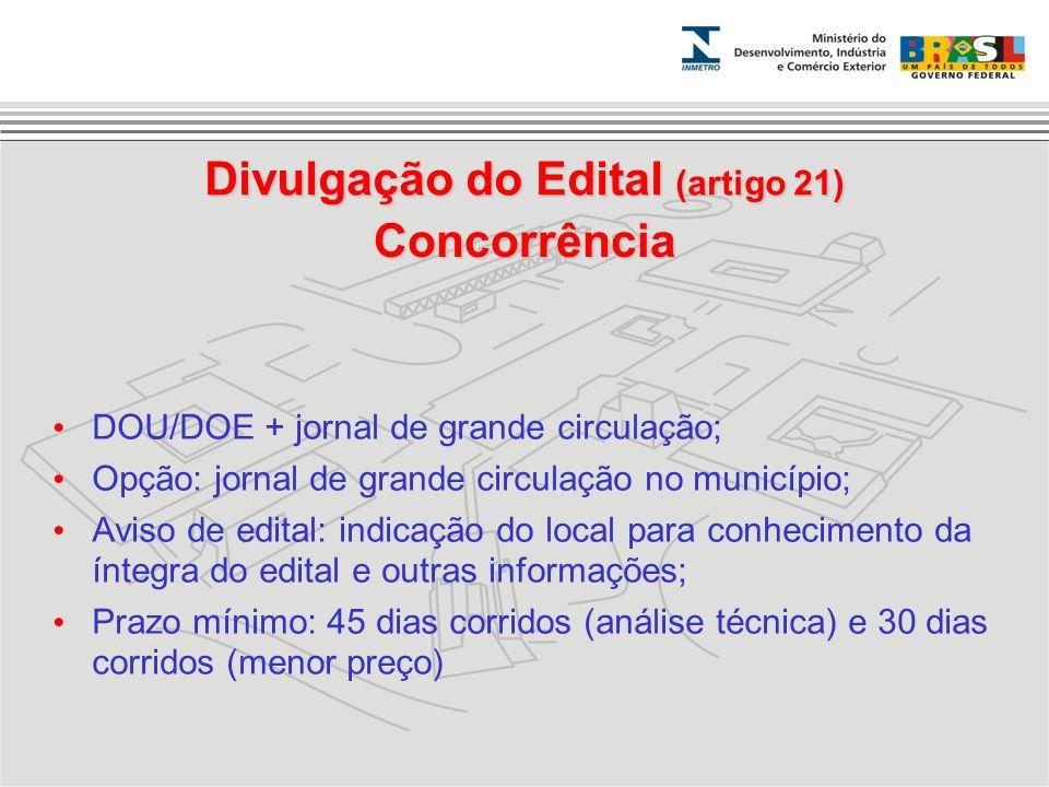 Divulgação do Edital (artigo 21)