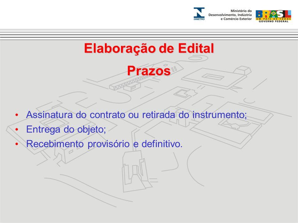 Elaboração de Edital Prazos