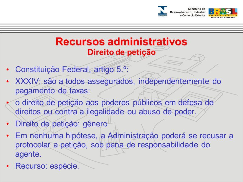 Recursos administrativos Direito de petição
