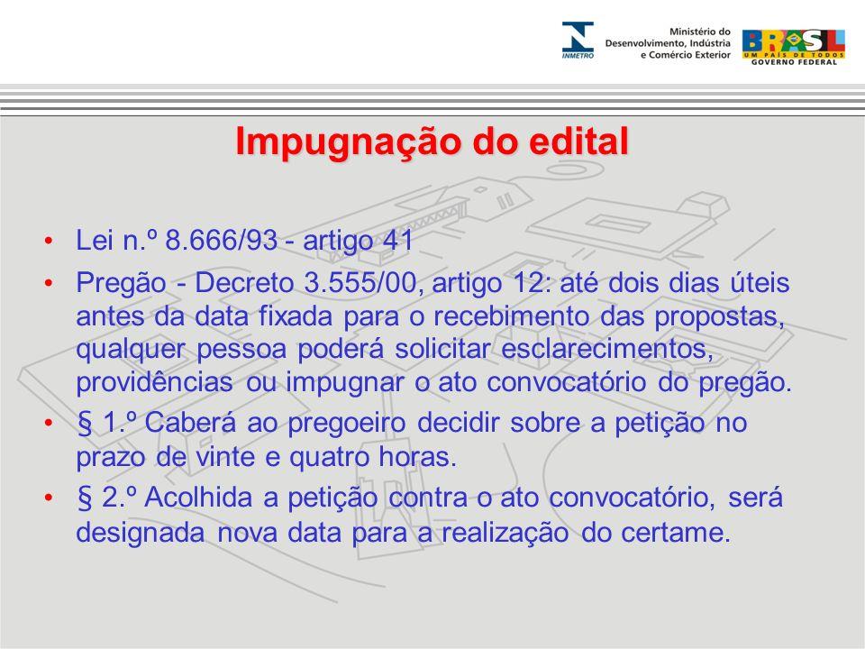 Impugnação do edital Lei n.º 8.666/93 - artigo 41