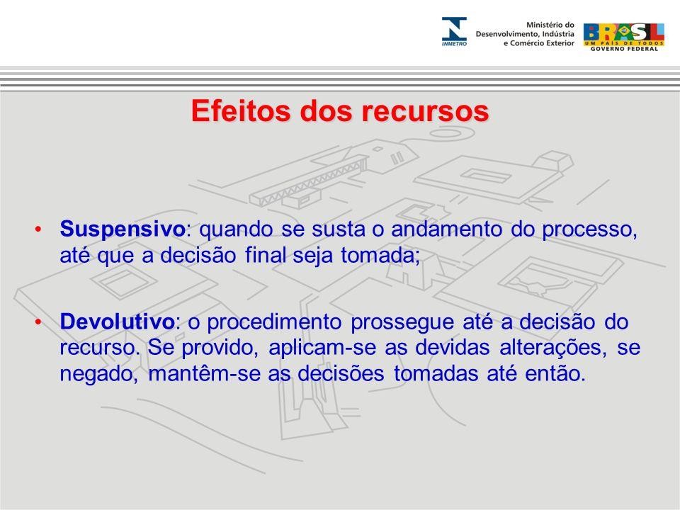 Efeitos dos recursos Suspensivo: quando se susta o andamento do processo, até que a decisão final seja tomada;