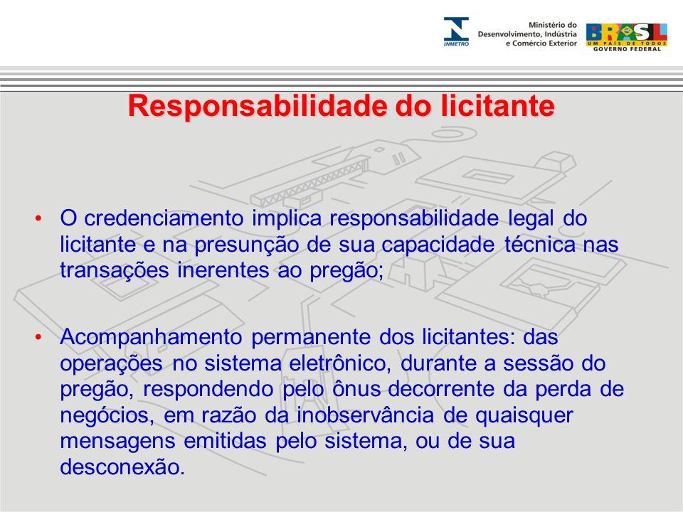Responsabilidade do licitante